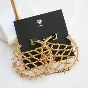BaubleBar Beaded Crochet Hoop Earrings in Gold